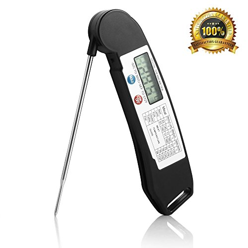 ENROSE Cooking Thermometer Digital BBQ Meat Thermometer Accurate Easy-To-Use Instant Read Digital Thermometer (Black) by ENROSE