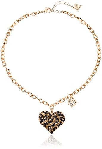 GUESS 'Basic Gold Cheetah Heart Pendant Necklace, 16' + 1' Extender
