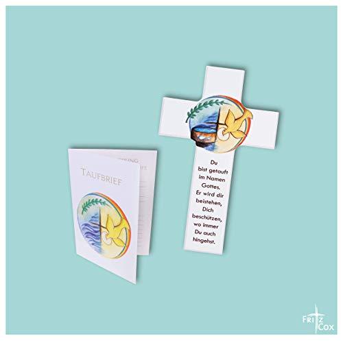 FRITZ COX® - Holzkreuz zur Taufe - perfektes Taufgeschenk (15cm, weiß, mit Taufbrief)