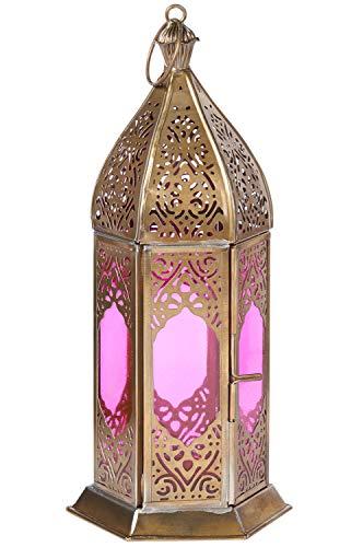 Orientalische Laterne aus Metall & Glas Basma Lila 24cm | orientalisches Windlicht | Marokkanische Glaslaterne für innen | Marokkanisches Gartenwindlicht für draußen als Gartenlaterne