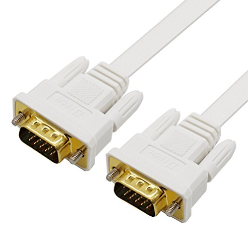 DTECH Slim Flexible 15 Feet VGA Cable Male to Male 1080p High Resolution Computer Monitor Cord - White - 5m