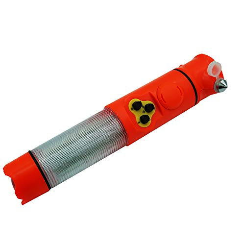 YARADECRO 6 in 1 Auto Notfall Flucht Werkzeug Notfall Blinklicht Warnleuchte Taschenlampe Sicherheitsgurt Cutter und Glas Windschutzscheibe Hammer Breaker Magnet Lampe Sound Alarm