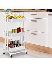Hyfive Wózek do przechowywania na kółkach kosze kuchenne 3 poziomy z kółkami łazienka wózek do przechowywania wózka (biały)
