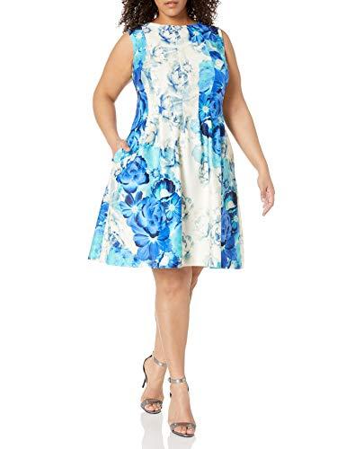 Eliza J womensEJ6W1941Womens Scuba Pleated Dress Sleeveless Dress - Blue - 18 Plus