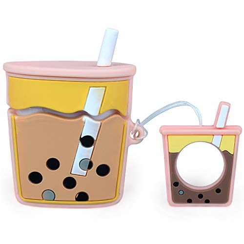Case for Airpods, Cases Cute, Bubble Tea Case Cover Silicone with Food Grade Silicone Material, Milk Tea Case for Airpods 1&2, 3D Cartoon Silicone Protective Cover with Finger loop