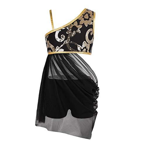 Freebily Mädchen Bauchtanz Kostüm EIN-Schulter Tanzkleid Latin Dancewear Tanz Outfits für Weihnachten Karneval Party Aufführung Schwarz 152/12 Jahre