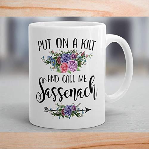 """Kaffeetasse, """"Put On A Kilt and Call Me Sassenach""""-Tasse, schottische Tasse, lustige Keramik-Kaffee-Teetasse, Geschenk für Freunde, Familie, Liebhaber, Kollegen, 450 ml"""