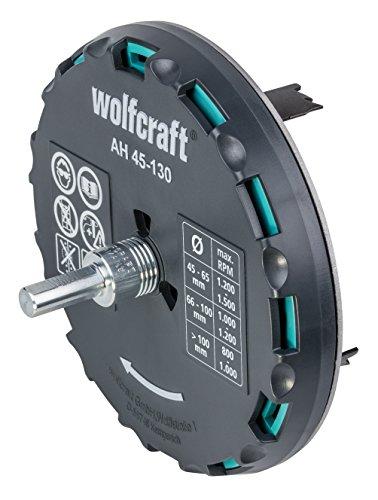wolfcraft Lochsäge 5978000 – Verstellbarer Universal-Kreisschneider für den Akkuschrauber und die Bohrmaschine – Für Gipsplatten und Holz – Stufenlos einstellbar von ø 45-130mm