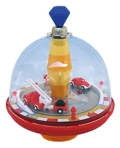 alldoro 68030 - Feuerwehr Panoramakreisel Ø 19 cm, Pumpkreisel mit Sound, Schwungkreisel mit Standfuß, Musikkreisel mit Feuerwehrauto, klassischer Spielzeugkreisel, Kreisel für Kinder ab 18 Monate