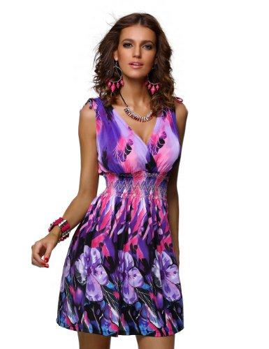 JINHUANSHOW Women's Spring Summer Floral Print Dresses Flower15 (L,Blue&Purple)