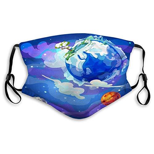 DongZhiYuanV Schild für den Außenbereich Bequemer wiederverwendbarer Mundschutz Cartoon Erdplanet im Weltraum Vorlage Mundschutz im Freien, staubdicht, Winddicht