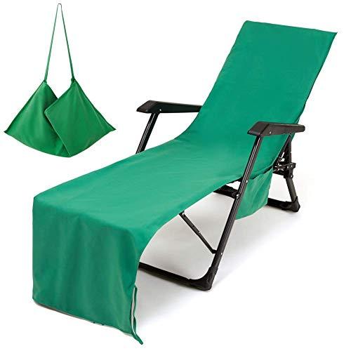 Toallas de playa portátiles Funda para silla de playa Toalla deportiva de microfibra para nadar para tomar el sol, Cama solar ultra absorbente con bolsillo lateral, Colchoneta para tumbonas