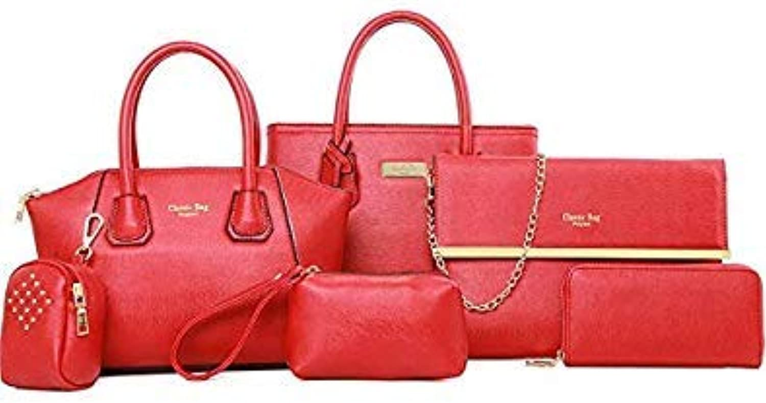 Bloomerang New 6 Pcs Set Women Handbags PU Leather Women Casual Totes Shoulder Bag +Messenger Bag+Purse +Clutch Composite Bag color red