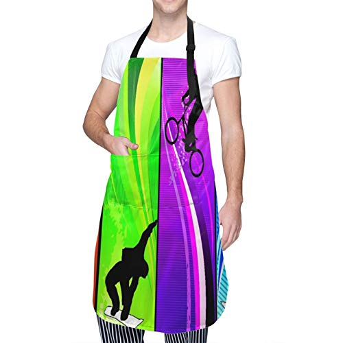 Adjustable Neck Hanging Personalized Waterproof Apron,Cools of Extreme Sports Surfing Bmxing and Snowboarding,Kitchen Bib Gown for Men Women with 2 Center Pockets