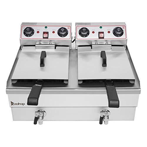 Double Tank Deep Fryer Countertop Kitchen Frying Machine Stainless Steel Deep Fryer Machine