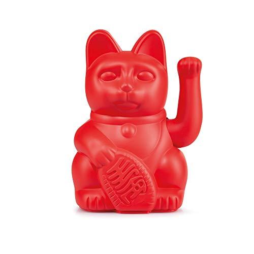 DONKEY Products - Lucky Cat Red - rote Winkekatze | Japanische Deko-Katze in stylischem matt-Farbton 15cm hoch
