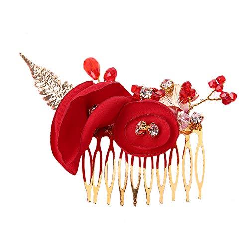 Cratone Peine de pelo con diseño de rosas para novia, accesorios para...