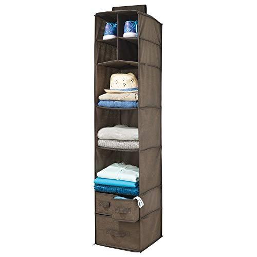 mDesign - Hangende opberger - voor kleding, leggings, lingerie, T-shirts - met 7 grote schappen en 3 verwijderbare lades/bevestiging aan kledingstang/zachte stof - espresso