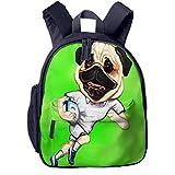Sac à Dos Enfant Garderie Maternelle Sac Creche Sac Animaux École Mignon pour Bébé Fille Garçon Angleterre Rugby Pug avec Ballon