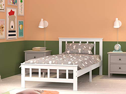 Single Bed Frame, PANNANA Solid Wood Bed Pine Bed frame 3ft White Wooden For Adults, Kids, Teenagers