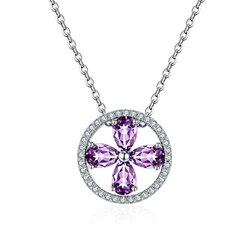 YXDEW Luck Pendant Chain Necklace Natural Crystal Amethyst Clover Item Pendant Ladies Jewelry Gifts Necklaces For Women Girls Chain With S925 Sterling Silver Necklace for Women honored