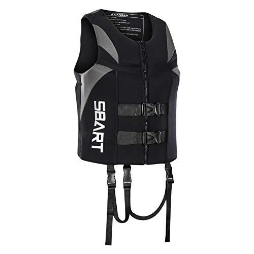 Q-YR Chaleco Salvavidas Flotabilidad De Agua Chaleco De Vida Adulto Profesional con Hebilla Ajustable para Nadar, Rafting, Crucero, Buceo,Gris,XL