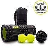kalahari foam roller set - rullo in schiuma, palla doppia e riccio. per terapia trigger point e massaggio miofasciale. comoda borsa ed ebook esercizi in italiano
