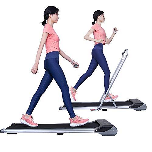 RHYTHM FUN Treadmill Under Desk Treadmill 2-in-1 Folding Running Walking Treadmill with Foldable Handtrail and Speed Sensor Light Slim Mini Quiet Treadmill with Smart Remote Workout App forHome/Office
