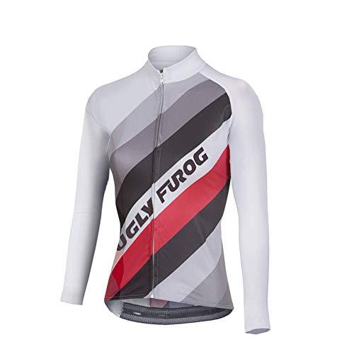 Uglyfrog Maillot de Cyclisme pour Femme Séchage Rapide Respirant Maillot de Vélo Manche Longue Fermeture à glissière Complète