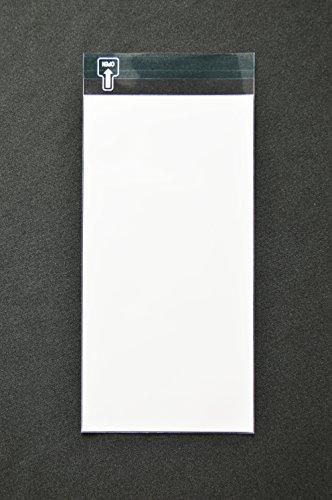 印刷OPP袋 長3 【500枚】 50μ(0.05mm) 表:白ベタ 切手/筆記可 静電気防止処理テープ付き 折線付き 横120×縦235+フタ30mm