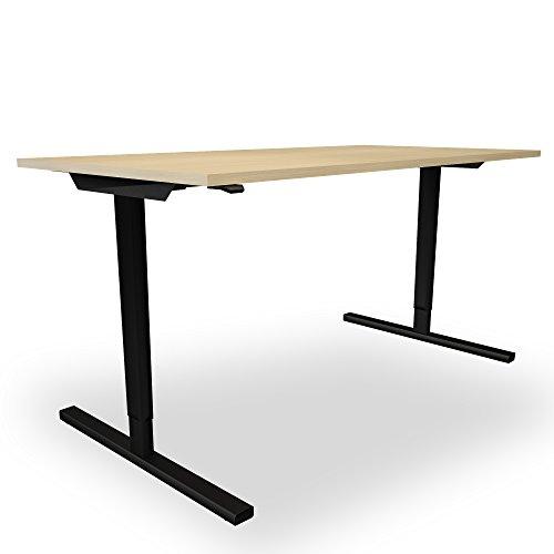 Elektrisch höhenverstellbar Schreibtisch EASY Ergonomisch Motortisch LINAK, Gestellfarbe:Schwarz, Melamin-Farbe:Eiche, Größe:1800 x 800. H=740 mm