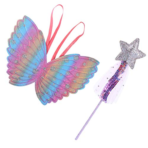 PRETYZOOM 2 Stück Prinzessin Fee Flügel mit Satr Fee Zauberstab Regenbogen Engel Schmetterling Verkleiden Flügel für Kinder Halloween Cosplay Geburtstagsfeier Gefälligkeiten (Lila)