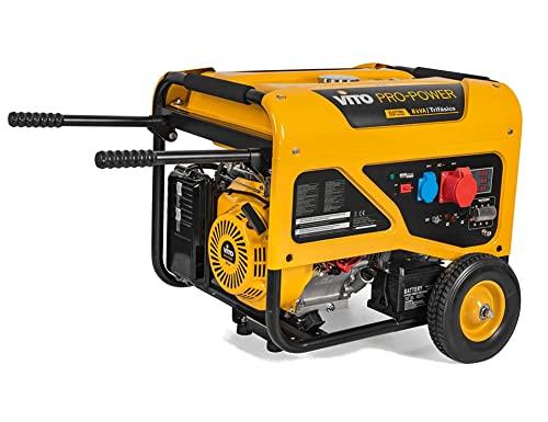 VITO Pro-Power AVR Benzin Stromerzeuger 3-Phasen 400V 16A - 8kVA Generator 15PS 6500W mit E-Starter, luftgekühlt, Ölmangelsicherung, Überlastschalter, Profi 4Takt Generator Notstromaggregat