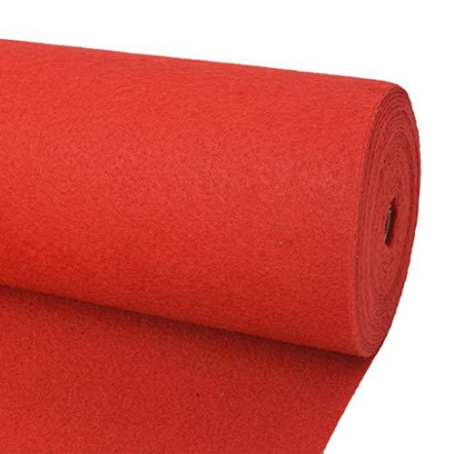 vidaXL Messeteppich Glatt 1x24 m Rot Auslegware Meterware Teppich Bodenbelag