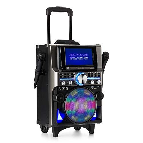 auna Pro DisGo Box 360 Black Edition - Equipo de Karaoke, Sistema de Audio para Fiestas, Bluetooth, Pantalla TFT de 7