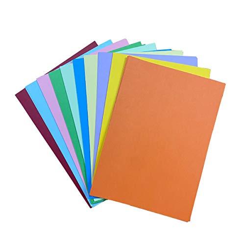 DELLCCIU 10 Farben, A4 180 g/m²,100 Blatt Verdicken Buntpapier Farbigen A4 Kopierpapier Papier, Farbige Buntes Papier Ton-Papier, für DIY Kunst Handwerk (20 * 30cm)