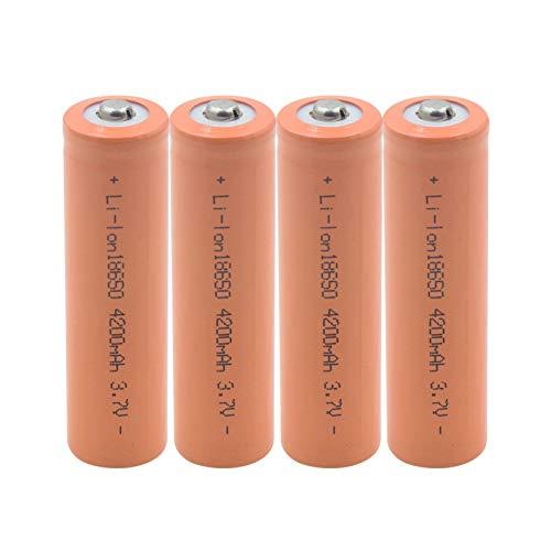 hsvgjsfa Batería De Litio De 18650 3.7v 4200mah, Recargable para El MicróFono del Banco del Poder del Faro 4pieces