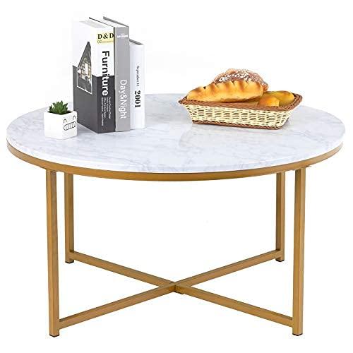 Mesa de centro, mesa central moderna, mesa de café redonda con patas de metal de superficie de mármol feo y metal de oro, para sala de estar ... ⭐