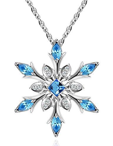murtoo Sky blau Kette Damen Schneeflocken Kette Schneeflocken anhänger Kette mit Schneeflocke Kette mädchen Geschenk für Frauen