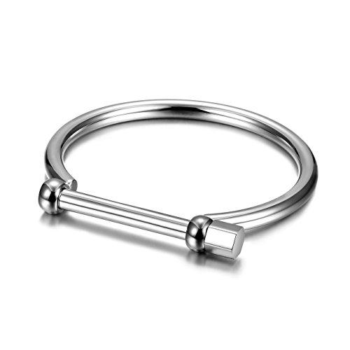CIUNOFOR Herren Schwarz-Weiß-Armband Armreif aus poliertem Edelstahl für Herren Jungen mit einfachem Twisted Line Design (Silber)