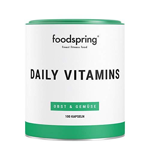 foodspring Daily Vitamins, 100 Kapseln, Vitamine aus echtem Obst und Gemüse für jeden Tag