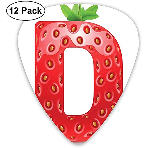 Guitar Picks 12er-Pack, Großbuchstabe D mit reifen Erdbeer-Design Green Vivid Leaves Diet