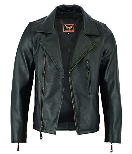 Mens Classic Vintage Genuine Top-Grain Cowhide Bicker Leather Jacket (Black, Small)