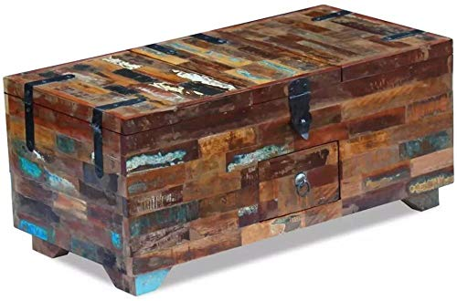 Mesa de Centro Caja de Escritorio Muebles de Pecho Madera Maciza recuperada 80x40x35 cm