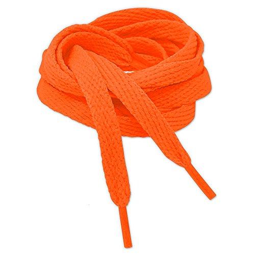 Kilter Flache Schnürsenkel für Sneaker und Sportschuhe - Neon Orange - 8mm X 90cm (2 pairs)