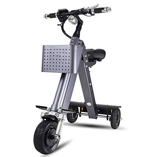 FUJGYLGL Portable Adulto del Scooter eléctrico, Cuerpo de aleación de Aluminio, Plegable, con absorción de Choque, Estructura de Tres Ruedas, no fácil caerse