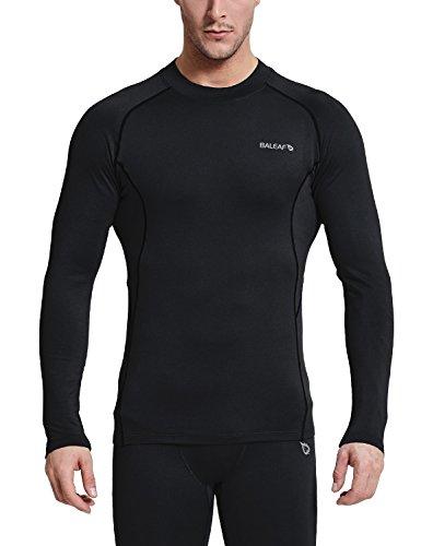 BALEAF Men's Thermal Compression Shirts Fleece Baselayer Long Sleeve Top Mock Neck Black/Black Size M