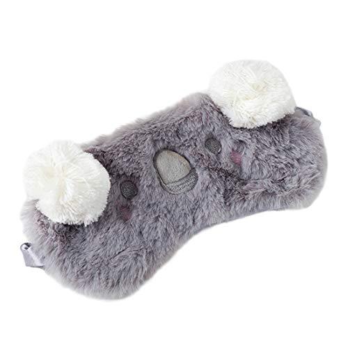 Laahoem Tierschlaf Augenmaske Nette lustige 3D Weiche Flauschige Cartoon Augenmaske Zum Schlafen Reisen Atmungsaktive Lidschattenmaske Kinder Erwachsene Frauen Koala Grau
