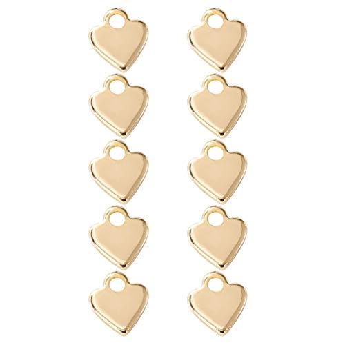 Artibetter 10 Piezas Colgantes Antiguos de Corazón de Oro Extensor de Cadena Gotas Cuentas Finales para Hacer Gargantilla Collar Pulsera Pendientes Joyería Accesorios Diy
