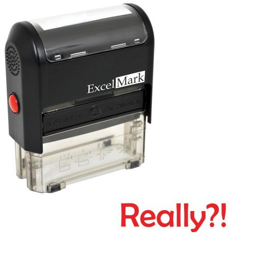 Self-Inking Novelty Message Stamp - Really?! - Red Ink